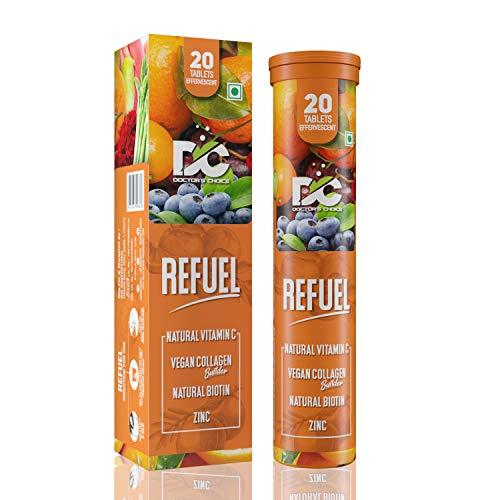 DOCTORS CHOICE Refuel Natural Vitamin C & Zinc Tablets 1000mg | Vegan Collagen Builder | Natural Biotin - 20 Effervescent Tablets (Orange Flavour)