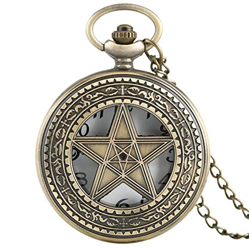 LNDDP Reloj Bolsillo Retro, Collar Vintage Pentagram Pentacle Reloj Bolsillo Cuarzo Hombres Mujeres Regalo Elegante Colgante