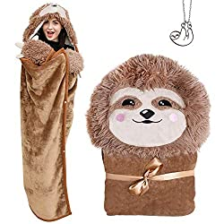 Sloth Warm and Cozy Wearable Hooded Blanket with Hoodie