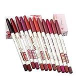 LSY Maquillaje perfecto 12 colores delineador de labios Lápiz Impermeable Lápiz labial duradero Kit de delineador de labios Hermoso