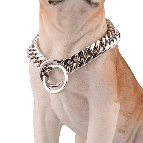 16mm Edelstahl Titan Stahl Hundekette Hund Hund Titan Stahl Hals Ring Hundehalsband Gold / Silber / Schwarz , silver , 24inch