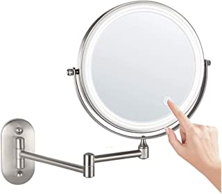 XZPENG Wall-mounted Makeup Mirror, Double Mirror 1X / 3X / 5X / 7X / 10 Magnification, Folding Telescopic Vanity Mirror For Bathroom, 360 Degree Rotation, Brushed Metal Frame