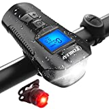 CHILEAF Bike Speedometer with LED Bike Light, Bike Computer with Bike Bell, Bicycle Headlight Taillight IP65 Waterproof, USB Rechargeable Bike Front Light and Tail Light Fits All Mountain & Road Bike