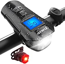 CHILEAF Bike Speedometer with LED Bike Light, Bike Computer with Loud Bike Bell, USB Rechargeable Bicycle Headlight Taillight, Waterproof Bike Odometer Front and Tail Lights