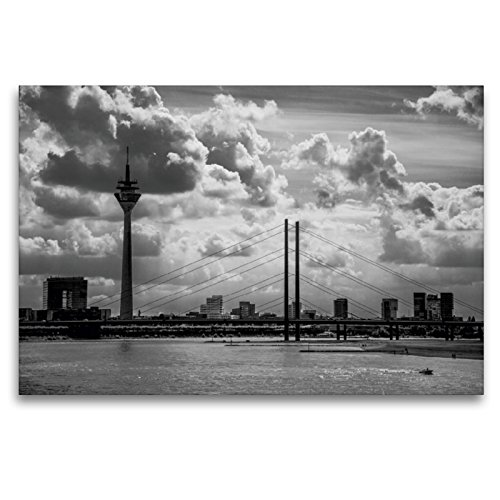 Premium Textil-Leinwand 120 x 80 cm Quer-Format Skyline von Düsseldorf | Wandbild, HD-Bild auf Keilrahmen, Fertigbild auf hochwertigem Vlies, Leinwanddruck von Micaela Abel