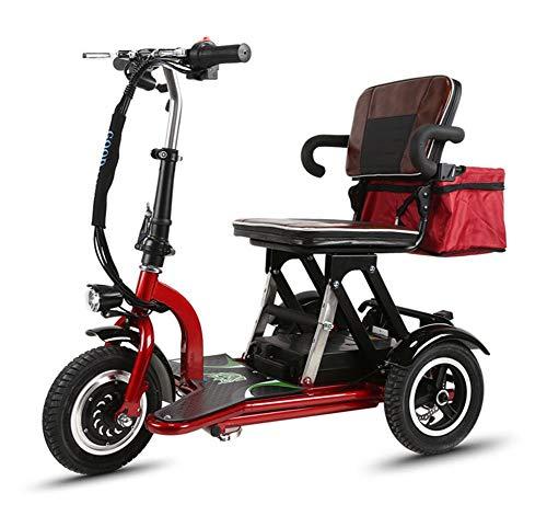CYGGL Mini Triciclo Eléctrico Scooter Viejo Plegable Coche Eléctrico Adulto Discapacitado 350W...
