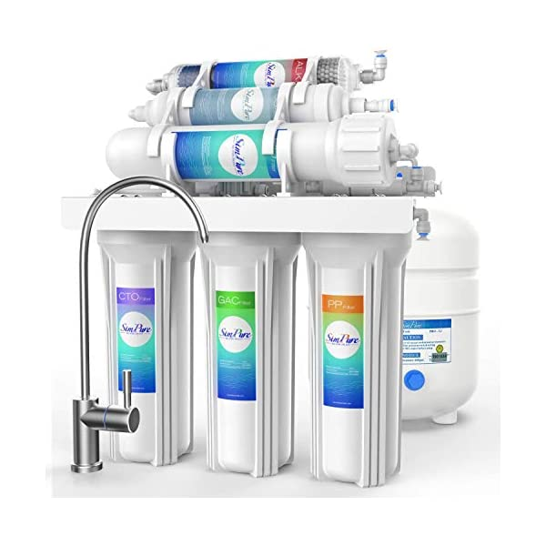 SimPure 6 Stage Reverse Osmosis Water Filter System, 100GPD Under Sink RO Drinking Water Purifier with Alkaline Remineralization, NSF Certified, High Capacity, TDS Reduction, Superb Taste pH+ – T1