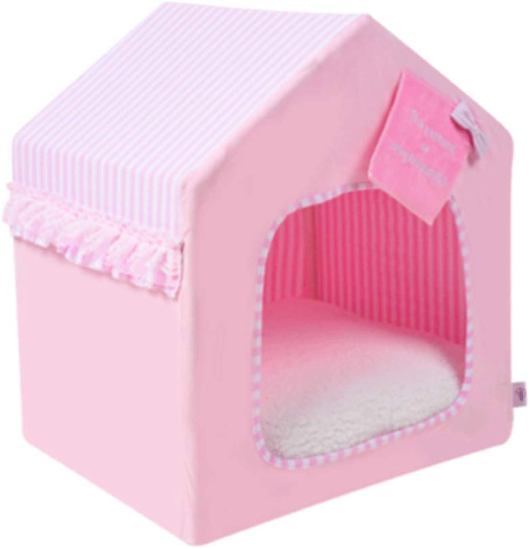KL Four Seasons Universal Closed Dog House Cat Nest Teddy Bear Detachable Cleaning Cotton Velvet Pet Nest (color   Pink, Size   58x46x63cm)