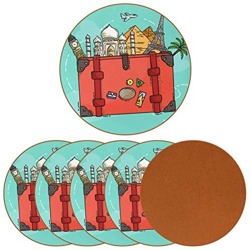 Paquete de 6 posavasos para bebidas, atracciones turísticas en maletas pintadas para decoración de bar de inauguración de la casa