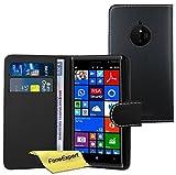 FoneExpert® Nokia Lumia 830 Hülle Wallet Hülle Flip Cover Hüllen Schutzhülle Etui Ledertasche Lederhülle Premium Schutzhülle für Nokia Lumia 830 + Bildschirmschutzfolie (Schwarz)