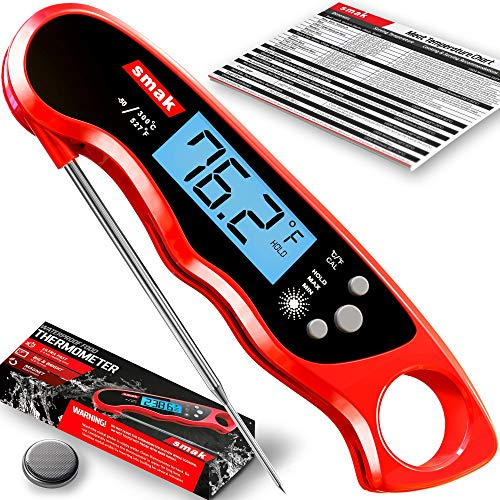 Digital Instant Read Meat Thermometer - Smak Waterproof Kitchen Food Cooking Thermometer with Backlight LCD - Best Super Fast Electric Meat Thermometer Probe for BBQ Grilling Baking Turkey