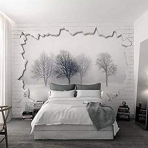 XHXI Moderno minimalista bosque gris pared de ladrillo blanco Impresión de arte en alta definición p Pared Pintado Papel tapiz 3D Decoración dormitorio Fotomural sala sofá pared mural-350cm×256cm