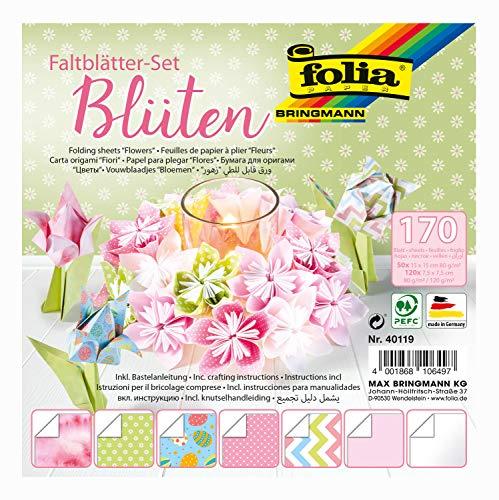 folia Juego 2 tamaños, 50 15 x 15 cm + 120 Hojas en Formato 7,5 x 7,5 cm, 7 diseños, Ideal para Figuras Plegables, Flores y Mariposas, carbón, talla única