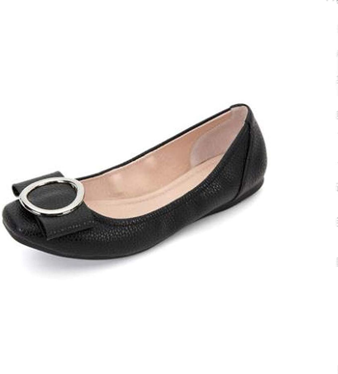 Women's shoes Autumn New Shallow Mouth Low with Commuter Metal Buckle Square Head Set Flat shoes