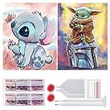 2 Pezzi 5D Diamond Painting Kit Completo, Pittura Diamante 5D,Pittura con Numeri Diamante,Dipinti Decorazioni per Pareti Domestiche,Passatempo per Adulti Bambini,30x40 cm