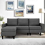 Esright Enlarged Convertible Sectional Sofa Couch, 3-seat Sofa Couch with Ottoman, L-Shaped Sofa with Modern Linen Fabric, for Living Room or Apartment, Update (Drak Gray)