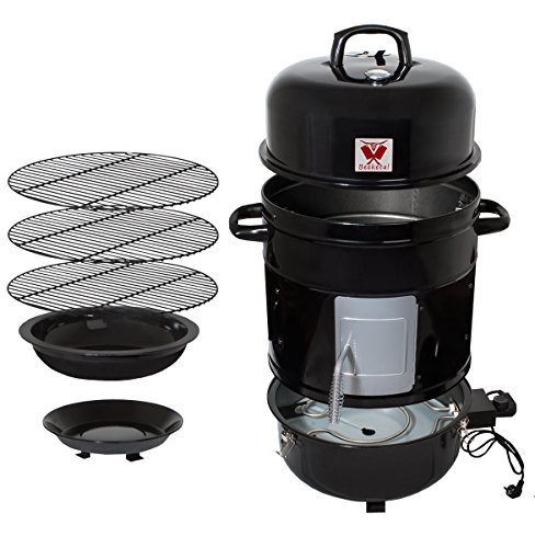 Beeketal \'BRO-V8e\' Smoker Räucherofen elektrisch aus Stahl inkl. 3 Roste, bis 200 °C stufenlos einstellbar, Innenraum Thermometer, Räuchertonne auch zum kalträuchern - Maße (B/H): ca. 600 x 840 mm