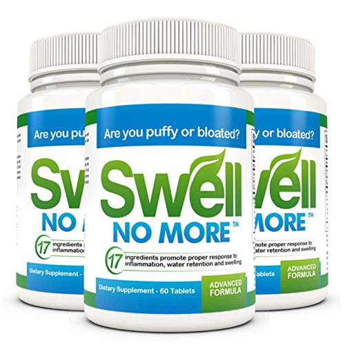 SwellNoMore Natural Herbal Anti-Inflammatory Diuretic. Reduces Swollen Feet, Swollen Legs, Swollen Ankles, Puffy Eyes and Edema Swelling Throughout Your Body. Doctor Trusted Made in USA - 3 Bottles 3 Month Supply ( 180 Tablets )