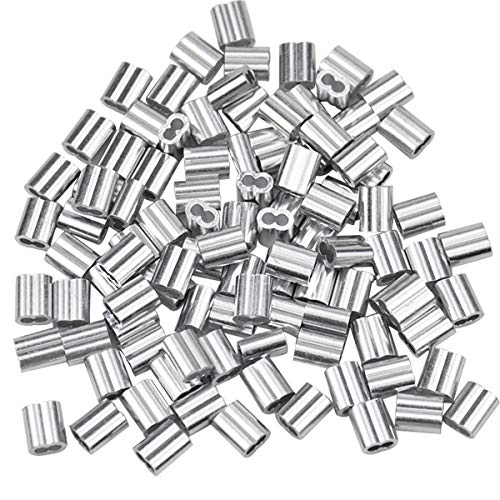 100 Stk Aluminiumhülse, Alu Klemme Drahtseilklemmen, Aluminium Pressklemmen Clips, Alu Crimpschlaufe Stahlseilklemme, Aluminium-Doppelhülsen für 2mm Seile Kabel Drahtseil