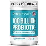 Health Revolution Probiotics 100 Billion for Women and Men - Shelf Stable Probiotic for Digestive Health, Vegan - 30 Capsules