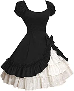 Women's Dresses,Venfamo Cap Sleeve Bow Tie Ruffle Dress Medieval Gothic Lolita Mini Dress Princess Dress