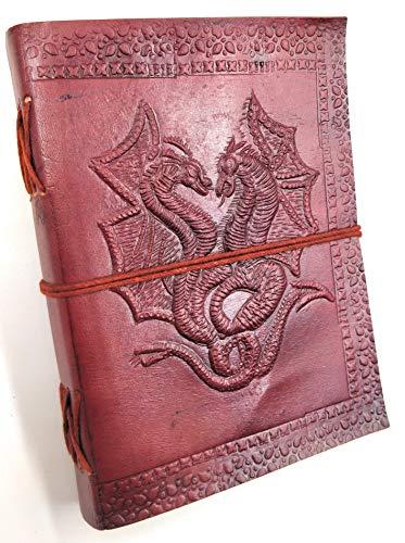 Kooly Zen Notizblock, Tagebuch, Buch, echtes Leder, Vintage, Doppel-Drache, 13 cm x 17 cm, Premiumpapier