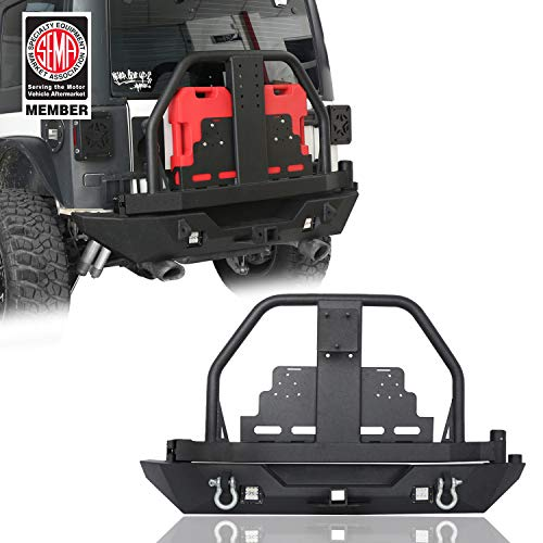 Rear Bumper w/Spare Tire Carrier & Oil Drum Rack Bar & Receiver Hitches for 2007-2018 Jeep Wrangler JK & Wrangler JK Unlimited