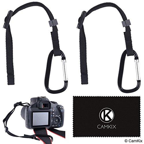 2X Atadura de la cámara con mosquetón – Doble asegure su cámara réflex o compacta – Primero conecte al ojete de la cámara – A continuación, conecte a la Correa de la cámara, trípode, monopie, etc.