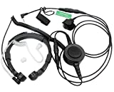 SUNDELY Military Grade Tactical Throat Mic Headset Earpiece with Big Finger PTT for Motorola Talkabout 2 Way Radio Walkie Talkie 2.5mm 1-pin Jack