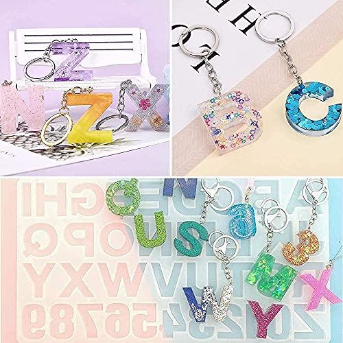 314 stampi in silicone resina epossidica con numero di lettere, 48 polvere di glitter,...