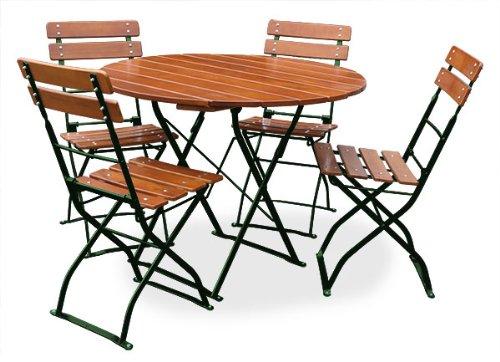 EuroLiving Biergartengarnitur 1x Tisch Ø100 cm & 4X Stuhl Edition-Classic Ocker/grün