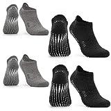 Occulto Calcetines Antideslizantes para Mujer y Hombre (2-4 Pares), Calcetines para Yoga y Pilates Mujer Hombre 4 Pares | Gris Negro 35-38