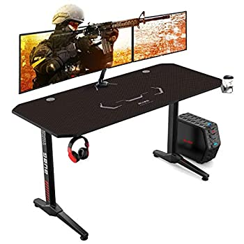 AuAg 55 inch Racing Style Gaming Desk Computer Desk Workstation T-Shaped Office PC Computer Sturdy Table with Free Mouse Pad Cup Holder & Headphone Hook
