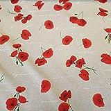 Stoff Meterware Baumwolle Natur rot Mohn Blumen Blüten
