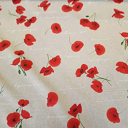 Stoff Meterware Baumwolle Natur rot Mohn Blumen Blüten Schrift pflegeleicht Dekostoff Vorhangstoff