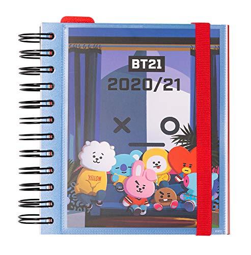 ERIK - Agenda escolar 2020/2021 día página M, Producto oficial BT21, 11 meses (14x16 cm)