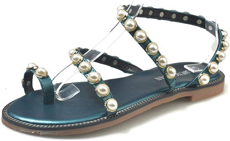 Btrada Women's Summer Flat Casual Sandals Female Pearl Outdoor Open Toe Roman Beach shoes Comfortable shoes
