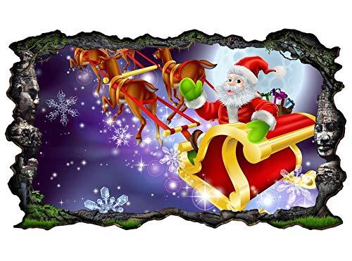 3D muursticker kinderkamer cartoon kerst Xmas slee racedieren muur sticker wanddoorbraak sticker zelfklevend muurschildering muursticker woonkamer 11P121 ca. 140cmx82cm