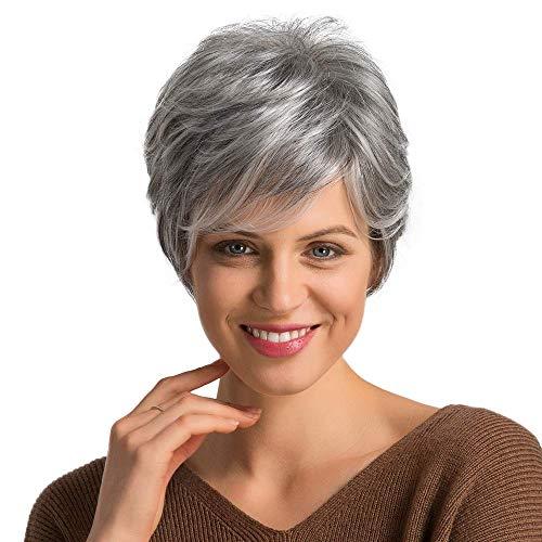 Fovermo Peluca de pelo corto para mujer Pelucas de cabello humano mixto Corte Pixie Peluca de cabello Cabello gris y blanco
