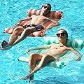 FindUWill 2-Pack Premium Swimming Pool Float Hammock, Multi-Purpose Inflatable Hammock (Saddle, Lounge Chair, Hammock, Drifter), Water Hammock Lounge (Orange and Turquoise)