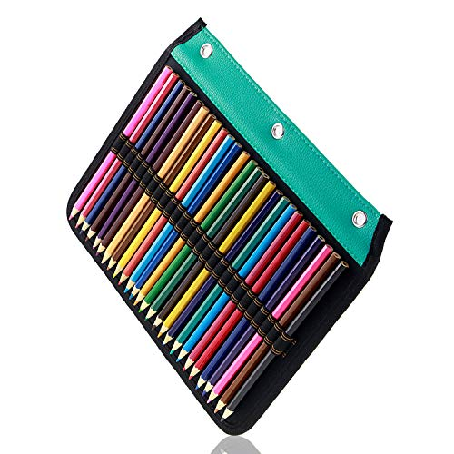 YOUSHARES 54 Slots Pencil Sleeve - Standard 3 Ring Binder Designed Pencil Page Compatible with 216 Slots Pencil Case for Watercolor Pencil, Gel Pen & Cosmetic Brush (Green)