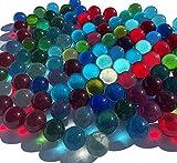 FAIRY TAIL & GLITZER FEE 100 canicas de cristal multicolor, 16 mm, piedras de cristal, para rellenar jarrones, canicas azules, doradas, rojas, verdes, brillantes, cuencos decorativos, juego de canicas