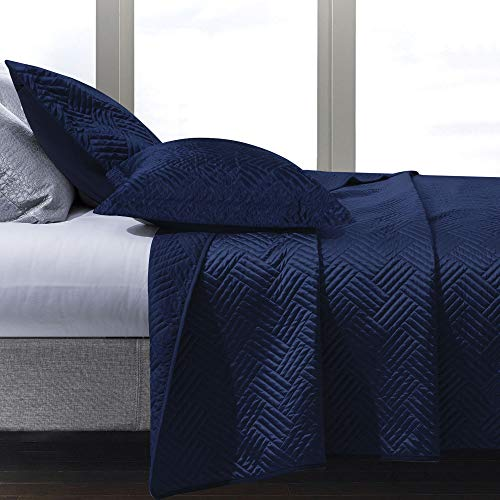 NTBAY Satin Quilt Coverlet Bed Set, 2 Piece Geometric Pattern Quilted Bedspread, Twin, Navy Blue