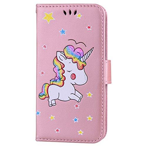 Ailisi Cover Samsung Galaxy J3 2016, Unicorno Bling Glitter Flip Cover Custodia Caso Libro Pelle PU e TPU Silicone con Funzione Supporto Chiusura Magnetica Portafoglio - Oro Rosa