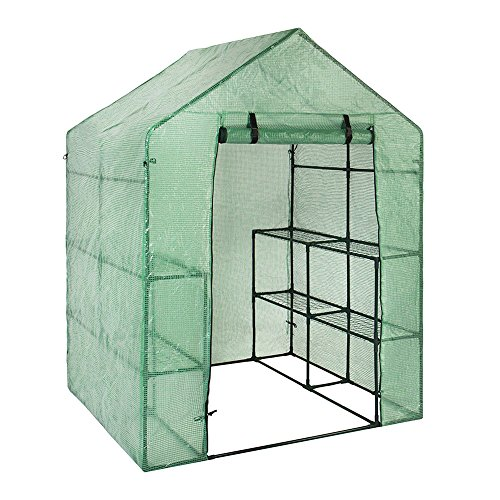 ZSL Walk-in Greenhouse Cover, Plastic Replacement Garden Cover, Portable Green House Plant Cover Lawn PE(Cover only, no Iron Stand, no Flower Pot)