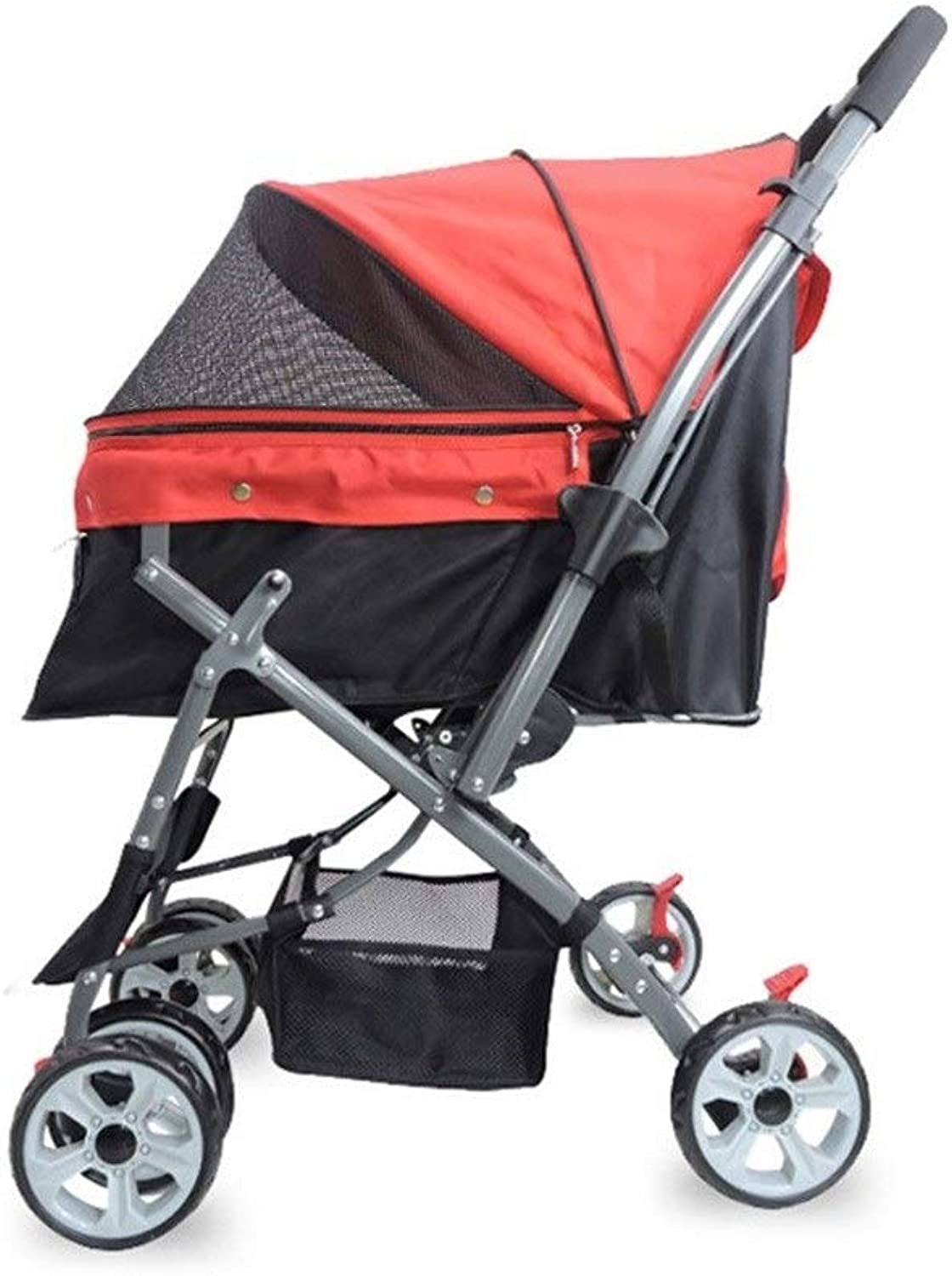 Dog Pushchair, Foldable Stroller Pram Carrier Travel Outdoor Cat Pet Cart For Medium Large Disabled Dog 4 Wheels Trolley (color   Red)
