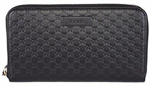 Gucci Damen Leder Mikro GG GUCCI SSIma Rund um PLZ Portemonnaie (schwarz)