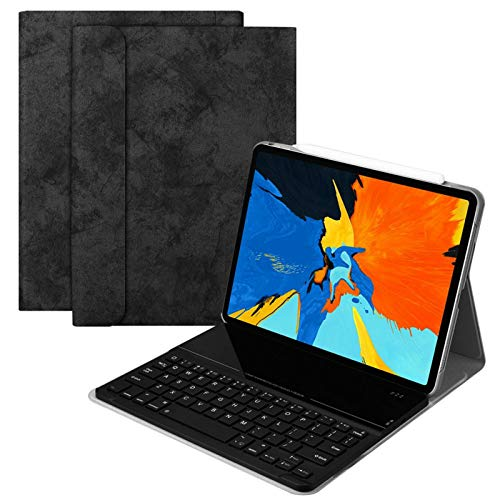 Energy Saving Wireless Keyboard-Smart Keyboard Case Flip Cover Wireless BT Keyboard Case Detachable Tempered Glass Keyboard Stand PU Leather Smart Cover For IPad Pro 11for Desktop,Notebook