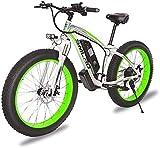 ZJZ 1000W 26inch Fat Tire Bicicleta eléctrica Mountain Beach Snow Bike para Adultos Scooter eléctrico de Aluminio 21 Speed Gear E-Bike con batería de Litio extraíble 48V17.5A