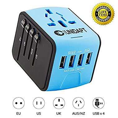 Unidapt Universal Travel Power Adapter, European Adapter, Fast 2,4A 4-USB Worldwide International Power Charger, AC Wall Plug Adapter – All in One for US, UK, EU, AUS & Asia